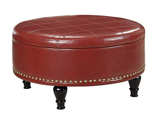 Leather Storage Ottoman, Round with Nailhead Trim, Accent Living Room Coffee Table (Crimson Red)