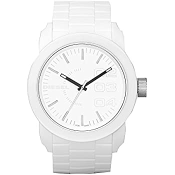 Diesel Mens Double Down Quartz Stainless Steel and Silicone Casual Watch, Color: White (Model: DZ1436)