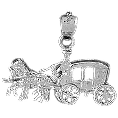 - Jewels Obsession Horse & Wagon Pendant | 14K White Gold Horse & Wagon Pendant - 20 mm