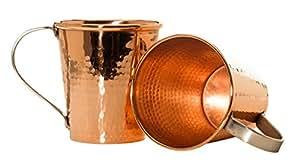Sertodo Moscow Mule Mug set of 2, Hammered Copper, 18 fluid ounces