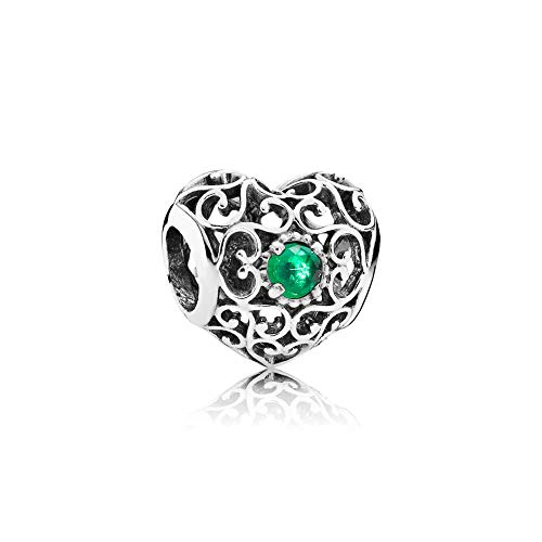 PANDORA 791784nrg May Signature Heart Royal-Green Charm