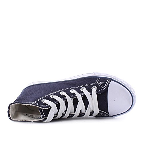 Zapatos lino Oscuro alto Canvas Azul Mujer de 7wqEwO