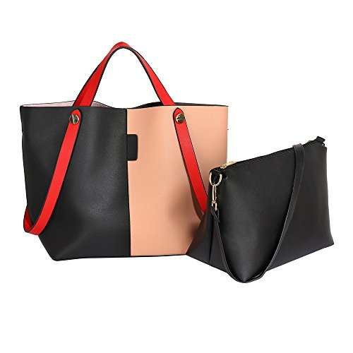 of and Capacity with piece Great Classic Handbags Purse 2 Ladies set shoulder combination both Woman bag bag purse Ladies Handbag Leather matching in Tote Nude Faux set Black shoulder Tote Large BpEOExqTw