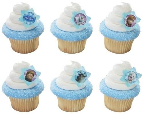 LoonBalloon FROZEN Disney Anna Elsa Snowman Olaf (72) Party Cupcake Cake Pop Favor Rings for $<!--$25.29-->