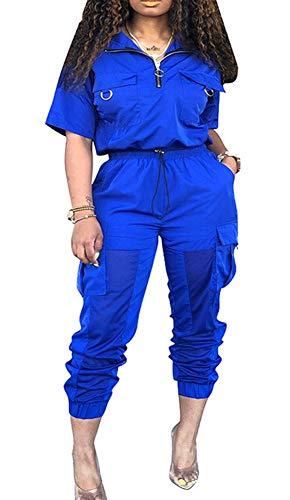 Womens Windbreaker Tracksuit 2 Pieces Outfit Drawstring Zipper Jacket Long Pants Jogger Set Royal - Tracksuit Drawstring