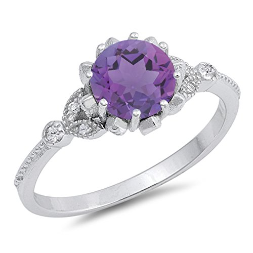 925 Sterling Silver Faceted Natural Genuine Purple Amethyst Round Ring Size 5