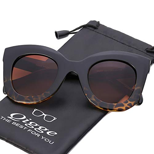 Qigge Cateye Sunglasses For Women Street Fashion Oversized Plastic Frame, 100% UV Protection (Leopard Color Frame @ Brown Lens) ()