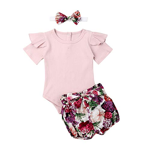 3PCS Infant Toddler Baby Girl Clothes Ruffle Romper Bodysuit Floral Halen Pants Headband Outfits (Z Pink, 0-6 Months)