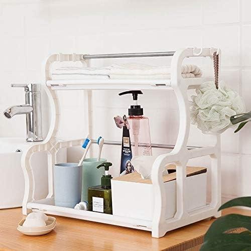 Zhaodong Mensola multifunzionale creativa di plastica doppia taglierina Cruet rack di stoccaggio Cucina Rack (caffè) Zhaodong (Color : White) White
