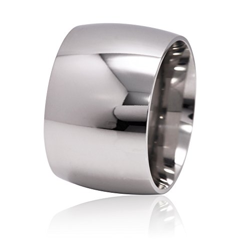 De Lelu Mens Womens Stainless Steel Wide Wedding Ring Band 15MM, Size 8 (Wide Band Rings compare prices)