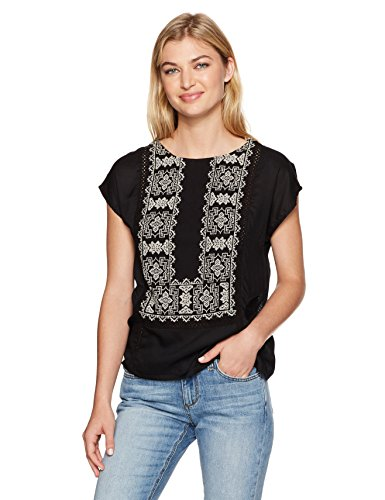 Lucky Brand Women's Embroidered Mix Top, Lucky Black, X-Large