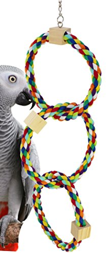 Bonka Bird Toys 1678 Tri Rainbow Ring Rope Swing Bird Toy Parrot cage Cages African Grey Conure (Twin Rainbow Ring)