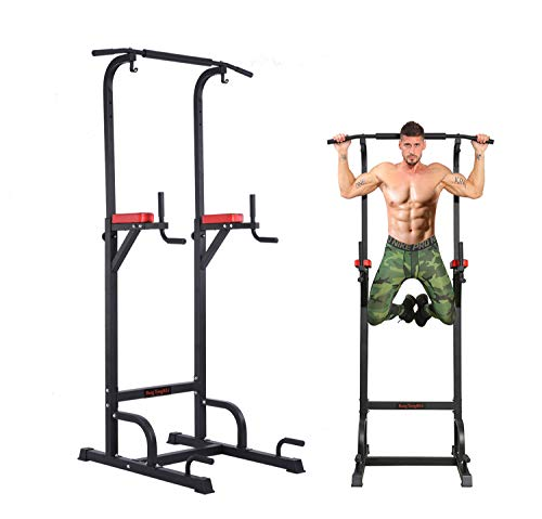 BangTong&Li Power Tower Workout Pull Up & Dip Station Adjustable Multi-Function Home Gym Fitness Equipment (Best Dip Station For Home Gym)