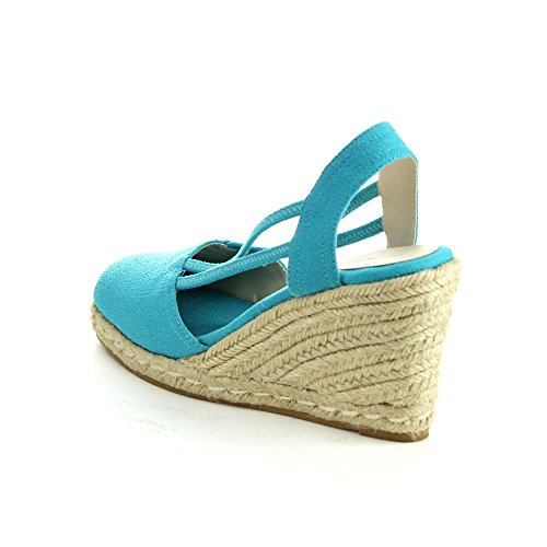 C LABEL Rollin-5 Womens Espadrille Elastic Sling Back Wedge Sandals Blue CaHjZdGs0h