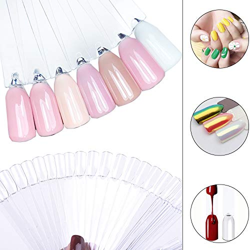 CINEEN Nail Display Tips Nail Art Polish Display Tip ,Fan-shaped False Nail Tips Fan for Vanish Practice Tools Colour Spectrum Display Sticks ,50 Pieces