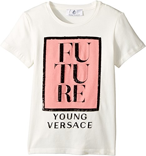 Versace Kids Girl's Short Sleeve 'Future' Logo T-Shirt (Big Kids) White/Multi 9 - 10 by Versace