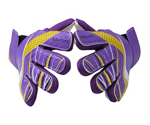 Goalkeeper Goalie Soccer Gloves - Kids Football Goal Keeper Gloves with Embossed Anti-Slip Latex Palm and Soft PU Hand Back (Purple, 5)