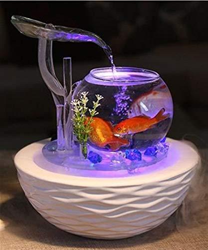 (BEITAI Tabletop Water Feature Green Lotus Fountain Waterfall Cascade Indoor Decoration Glass Ceramic Aquarium Humidifier Mist Fish Tank (Color : Lotus Fish Bowl Mist))