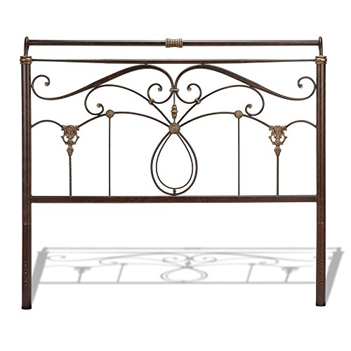 Full Metal Sleigh Bed - Fashion Bed Group Lucinda Metal Headboard Panel with Intricate Scrollwork and Sleigh-Styled Top Rail, Marbled Russet Finish, Full