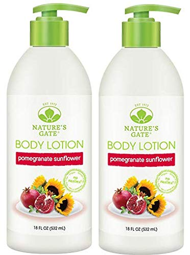 (Nature's Gate Pomegranate Sunflower Lotion (Pack of 2) With Shea Butter, Sage Leaf Extract and Sunflower Seed Oil, 18 fl. oz. Each)