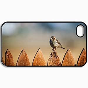 Customized Cellphone Case Back Cover For iPhone 4 4S, Protective Hardshell Case Personalized Bird Sparrow Fence Black