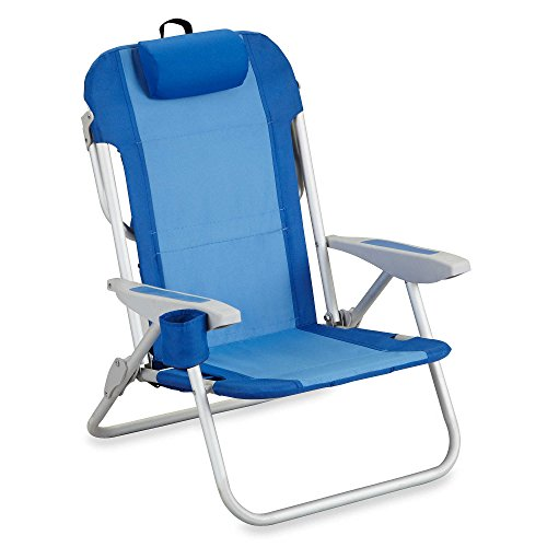 5 Position Reclining Backpack Patio Aluminum Camping Folding Beach Chair with Cup Holder, Blue (Leather Beach Chair)