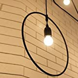 Industrial Circle Pendant Light-LITFAD Countryside Loft Style Geometric Antique Iron Pendant Light Fixture Circle