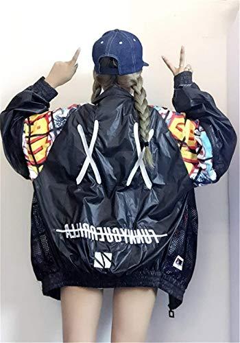 Schwarz Giacca Ragazze Lunghe Eleganti Outerwear Tendenza Fashion Battercake Streetwear Leggero Maniche Relaxed Giacche Donne Autunno Casuale Giubbino Cucitura Donna Bomber Casual Stile Stampate A8qAcBUFw
