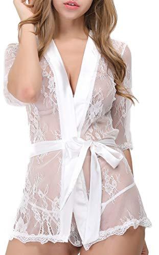 lttcbro Women's Kimono Babydoll Lace Short Robe Mesh Chemise Lingerie White Large ()
