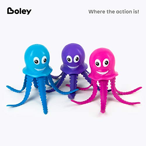 Boley Catch The Octopus Bathtub Toys - 3 Pack Small Light Up Sea Animal Kids Bath Toys for Ages 6 and Up