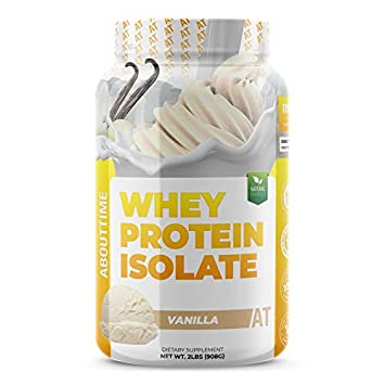 About Time Whey Isolate Protein, Non-GMO, All Natural, Lactose Gluten Free, 25g of Protein Per Serving Vanilla – 2 Pounds