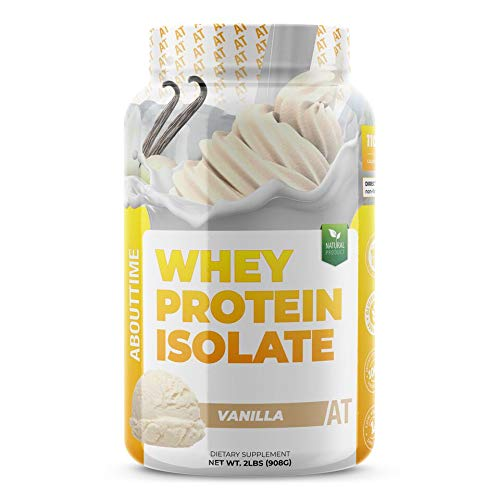 About Time Whey Isolate Protein NonGMO All Natural Lactose/Gluten Free 25g of Protein Per Serving Vanilla  2 Pounds