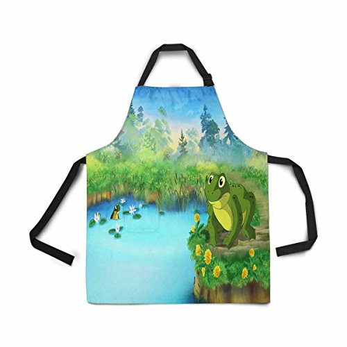 InterestPrint Adjustable Bib Apron for Women Men Girls Chef with Pockets, Cartoon Green Frog Pond Summer Day Novelty Kitchen Apron for Cooking Baking Gardening Pet Grooming Cleaning - Autumn Pond Food