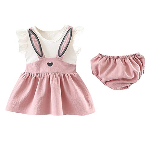 Baby Girl 's Cotton Romper, Infan Sleeveless Bodysuit Cartoon Rabbit Bunny Ear Dress Outfits Set with Short Toddler Clothes (18-24Months, Yellow) ()