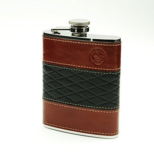 Savage 6oz Hip Flask 18/8 Stainless Steel Wrapped Black and Burgundy Genuine Leather by Savage