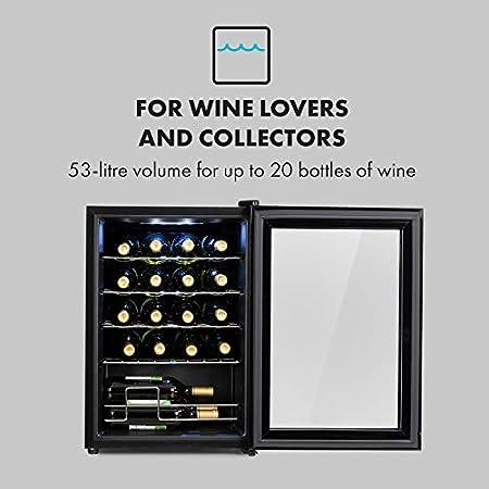 Klarstein Shiraz Uno - Nevera para vinos, 5-18 °C, 42 dB, Panel táctil, Iluminación LED, Altura regulable, Eficiencia energética Ge Clase G, 4 baldas, 53 litros, Para 20 botellas de vino, Negro[Clase de eficiencia energética G]