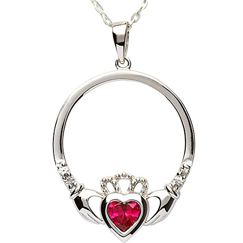 JULY Birth Month Sterling Silver Claddagh Pendant LS-SP91-7. Made in IRELAND.