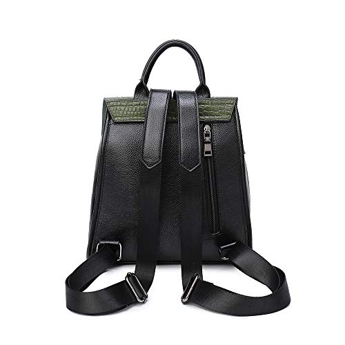 Leather Girls Rucksack Women Black Backpack Shoulder Layani Purse Ladies Green Small PU for Fashion bag Yw1I8xnv