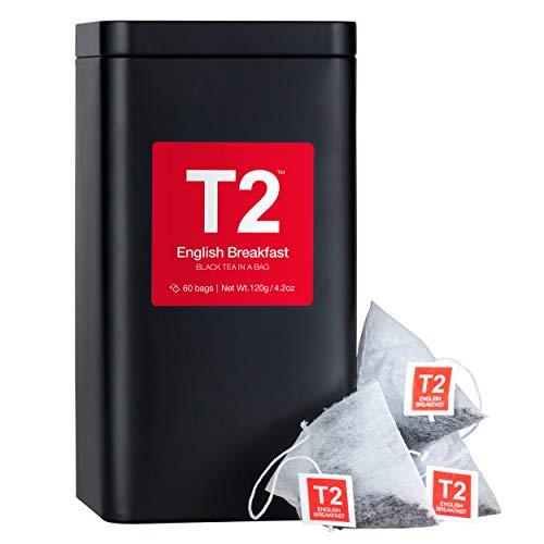 - T2 Tea - English Breakfast Black, Tea Bags in Tea Caddy, 120g (4.2oz), 60 Tea Bags