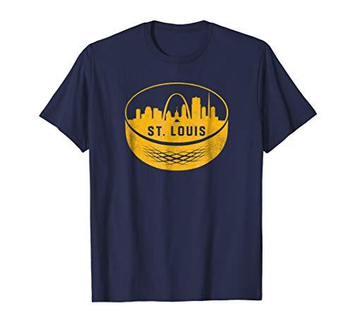 (Vintage St. Louis Missouri Cityscape Hockey Retro T-Shirt)