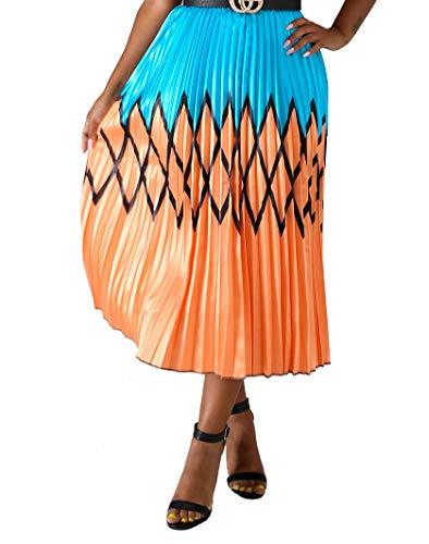 (Choichic Women's A-Line Swing Midi Skirt Graffiti Pleated Cartoon Printed Elastic Waist Dress Small Orange Blue)