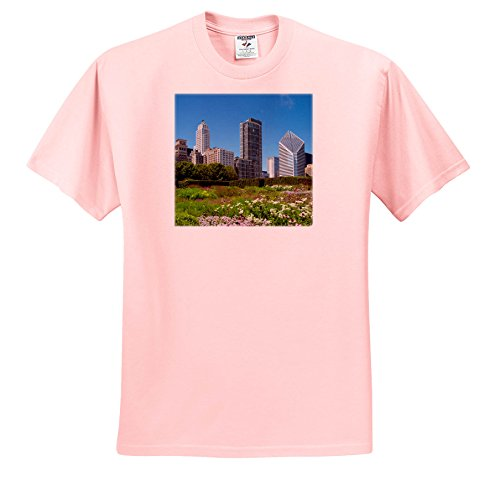 Danita Delimont - Cities - Millennium Park With Michigan Avenue Skyline, Chicago, Illinois - T-Shirts - Adult Light-Pink-T-Shirt 5XL - Chicago Shops Michigan Avenue On
