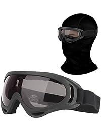 Balaclava & Ski Goggles Sets, Ultralight Balaclava Face Mask Windproof Ski Hood + UV400 Protection Anti-fog Ski Goggles for Cycling Biking Ski and Snowboard