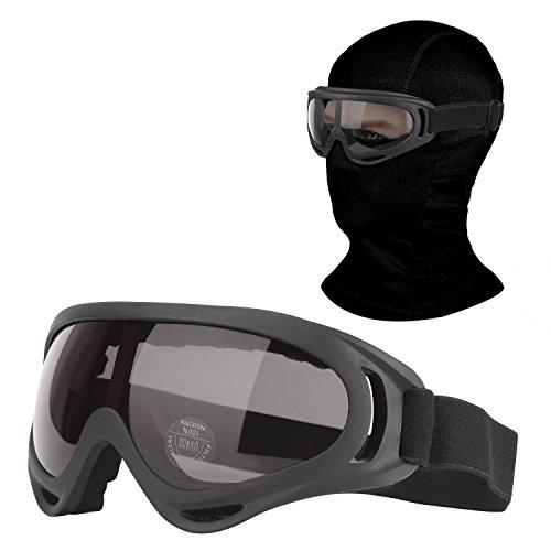 Balaclava & Ski Goggles Sets, Ultralight Balaclava Face Mask Windproof Ski Hood + UV400 Protection Anti-fog Ski Goggles for Cycling, Biking, Ski and Snowboard fit Kids Men & Women Black