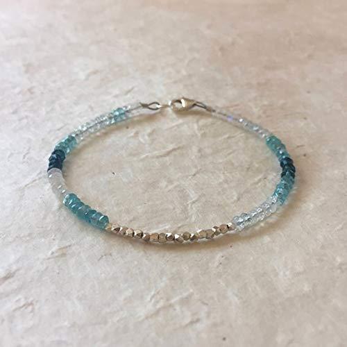(Aquamarine Moonstone Apatite London Blue Quartz Karen Hill Tribe Thai Silver Beaded Bracelet, Sundance Style 3-5mm by Gemswholesale)