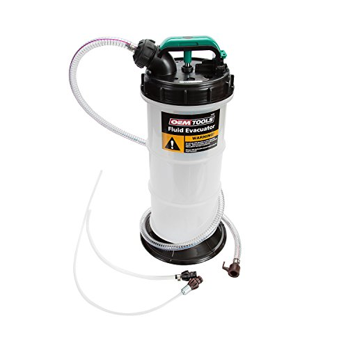 OEMTOOLS 24389 5.3 Liter Manual Fluid Extractor, Overflow Shutoff Valve, Dipstick Tube Adapter, Leak Proof Bottom