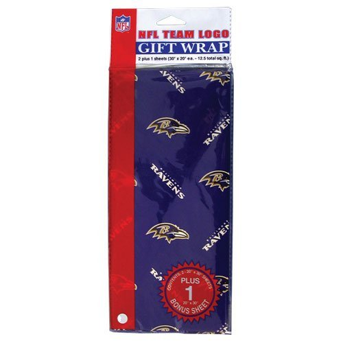 Pro Specialties Group Baltimore Ravens NFL Team Logo Gift Wrapping Paper 3 Sheets (30