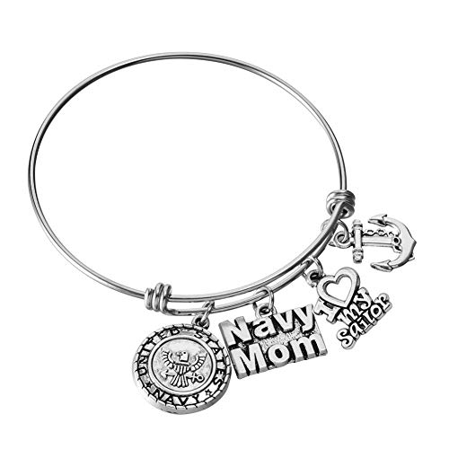 Miss Pink US United States Navy Mom Bracelet Expandable Wire Bangle I Love My Sailor Charm Birthday Jewelry Gifts for Women