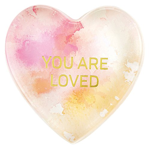 Shaped Heart Water (CB Gift Heartfelt Heart-Shaped Glass Watercolor Paperweight, You are Love)