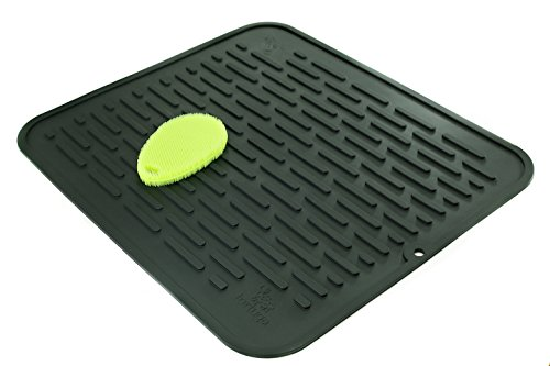 XL Silicone Dish Drying Mat & Counter Protector and Stay Clean Scrubby | Hygienic, Antibacterial, Dishwasher Safe | Wide Ridges Easy To Wipe Clean | Heat Resistant 450º 17.8 x 15.8 | Black